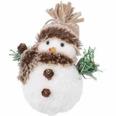 Camping kerstversiering beeld pluche wit sneeuwpopje 14 cm muts met pompon kopen