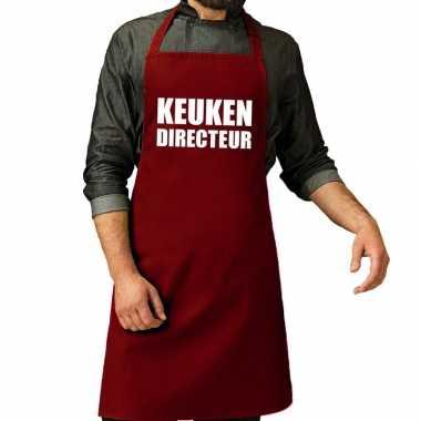Camping keuken directeur barbeque schort / keukenschort bordeaux rood