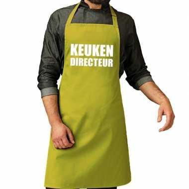 Camping keuken directeur barbeque schort / keukenschort lime groen he