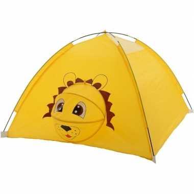 Camping kinderkamer speeltenten/speelhuizen geel leeuwtje 120 x 120 x