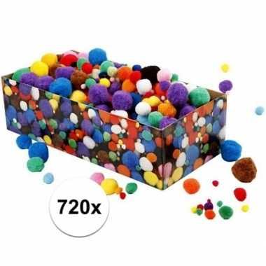 Camping  Kleine gekleurde pompons assortiment 720 stuks kopen