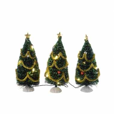 Camping kleine kerstboom met led lampjes en versiering 15 cm kopen