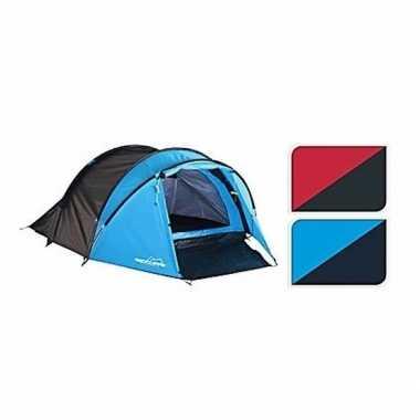 Camping koepeltent blauw/zwart 3 persoons kopen