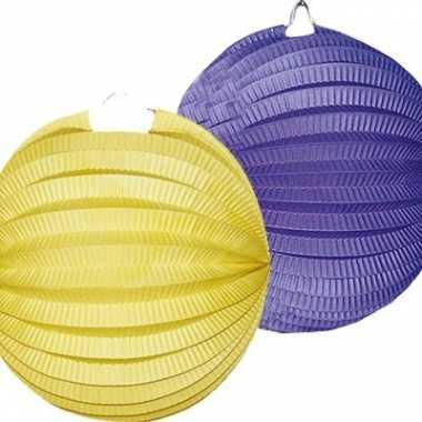 Camping  Lampion setje blauw en geel 4x kopen