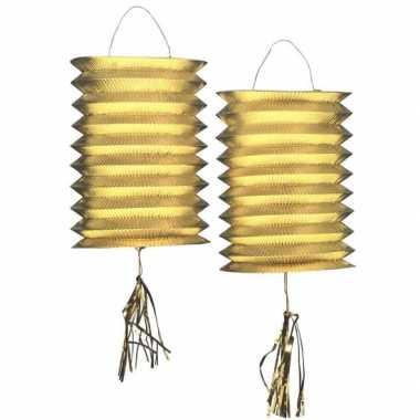 Camping  Lantaarn lampion goud 2 stuks kopen
