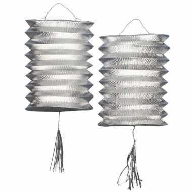 Camping lantaarn lampion zilver 2 stuks kopen