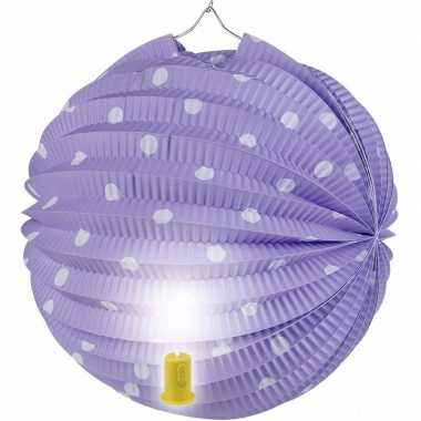 Camping lila feest lampion met witte stippen 20 cm kopen