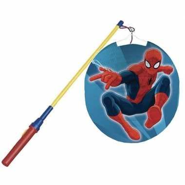 Camping marvel spiderman feestje lampion 25 cm met lampionstokje kopen