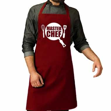 Camping master chef barbeque schort / keukenschort bordeaux rood here