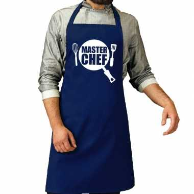 Camping master chef barbeque schort / keukenschort kobalt blauw heren