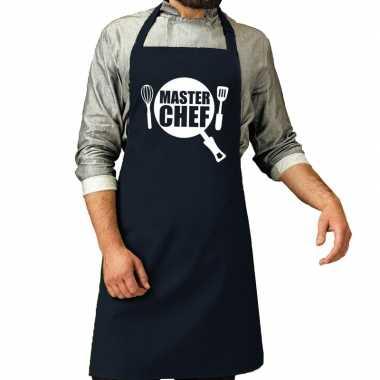 Camping master chef barbeque schort / keukenschort navy voor heren ko