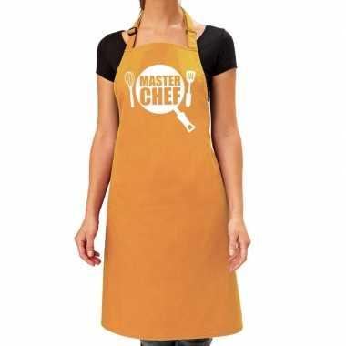 Camping master chef barbeque schort / keukenschort oker geel dames ko