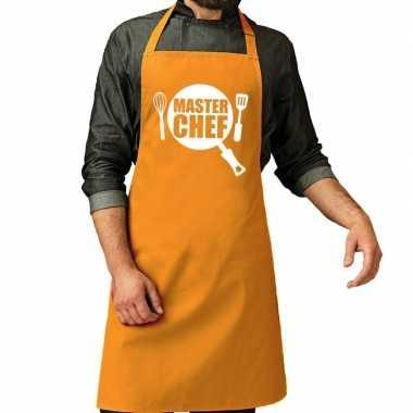 Camping master chef barbeque schort / keukenschort oker geel heren ko