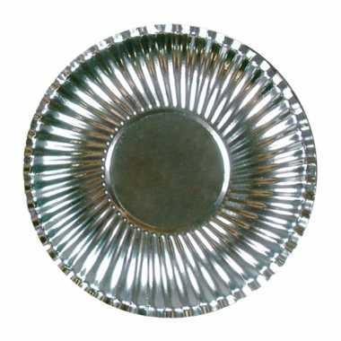 Camping metallic zilveren barbecue borden 23 cm kopen