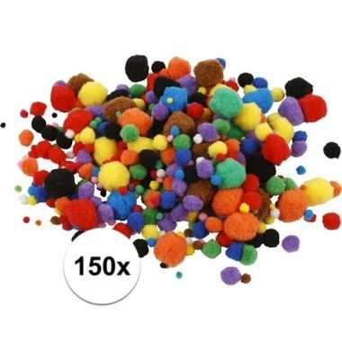 Camping multi kleur decoratieve pompons 15-40 mm 150 kopen