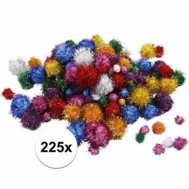 Camping multi kleur decoratieve pompons met glitters 15-40 mm kopen