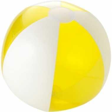 Camping  Opblaas strandbal geel met wit kopen