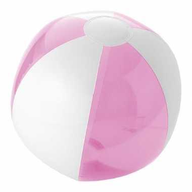 Camping  Opblaas strandbal roze met wit kopen