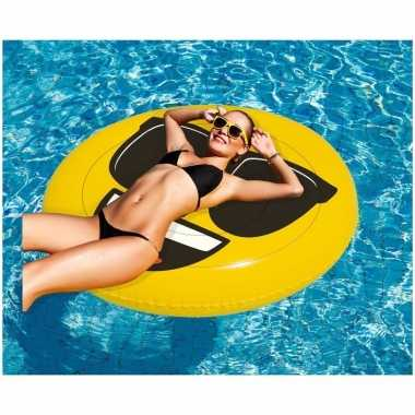 Camping opblaasbare cool emoticon luchtbed 130 x 110 cm kopen