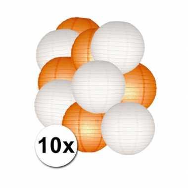 Camping  Oranje en witte feest lampionnen 10x kopen