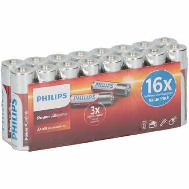 Camping philips lr6 aa batterijen 16 stuks kopen