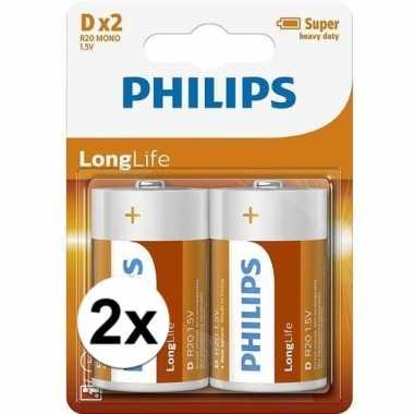 Camping phillips ll batterijen pakket r20 1,5 volt 4 stuks kopen