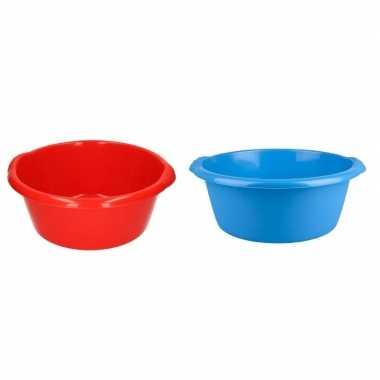 Camping plastic afwas teil blauw en rood 10l 38 cm kopen