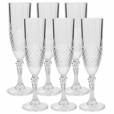 Camping plastic champagne glas 6 stuks kopen