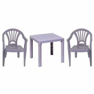 Camping plastic grijze tuin kinderkamer meubels tafeltje 2 stoeltjes voor kinderen kopen