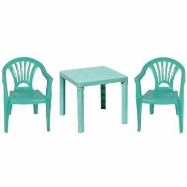 Camping plastic mintgroene tuin/kinderkamer meubels tafeltje/2 stoelt