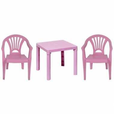Camping plastic roze tuin/kinderkamer meubels tafeltje/2 stoeltjes vo