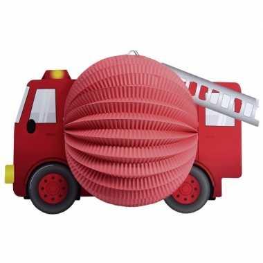 Camping rode brandweerwagen lampion voor jongens 20 cm kopen