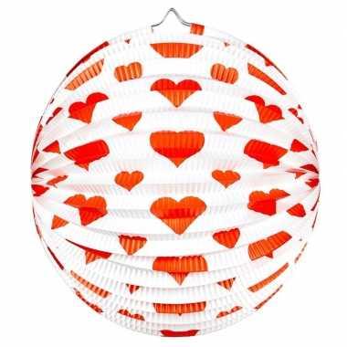 Camping ronde rood/witte bollampion met hartjes kopen