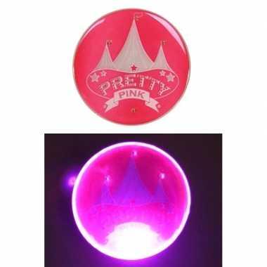 Camping roze buttons met lampje en circus kopen