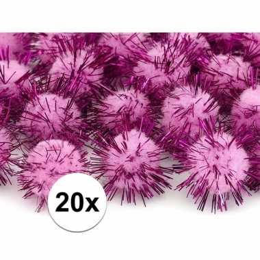 Camping roze decoratie pompons 20 mm kopen