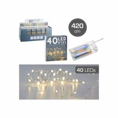 Camping set van 2x stuks draadverlichting lichtsnoeren met 40 lampjes warm wit op batterij 420 cm kopen