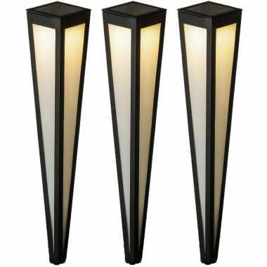 Camping set van 3x stuks solar tuinlampen/prikspots pilaar zwart op zonne-energie 75 cm kopen