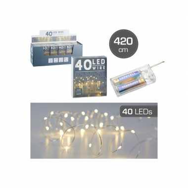 Camping set van 6x stuks draadverlichting lichtsnoeren met 40 lampjes warm wit op batterij 420 cm kopen