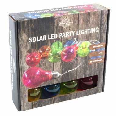 Camping solar feestverlichting/tuinverlichting met 10 neon gekleurde lampjes kopen