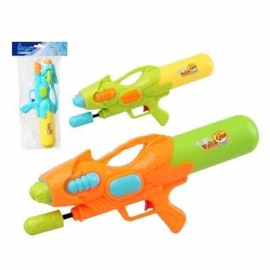 Camping speelgoed waterpistool met pomp blauw/geel 47 cm kopen