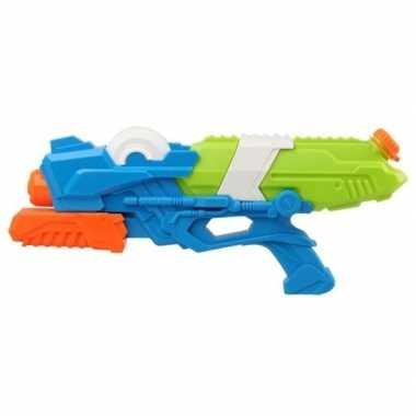 Camping speelgoed waterpistool met pomp blauw groen 41 cm kopen