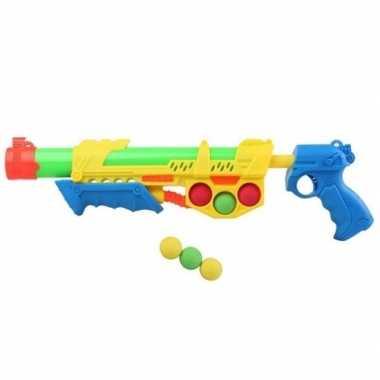Camping speelgoed waterpistool met pomp en 6 softballen geel/blauw 47