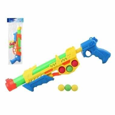 Camping speelgoed waterpistool met pomp en 6 softballen oranje/blauw