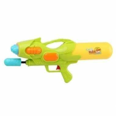 Camping speelgoed waterpistool met pomp groen/geel 47 cm kopen