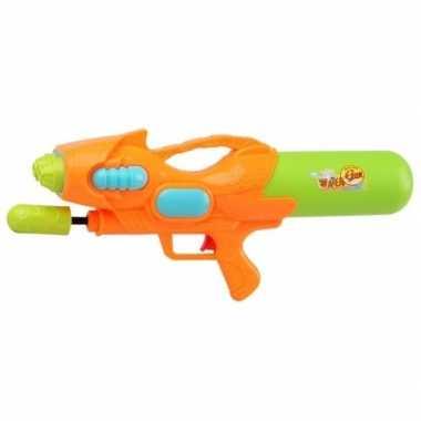 Camping speelgoed waterpistool met pomp oranje/groen 47 cm kopen
