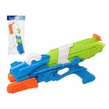 Camping speelgoed waterpistool met pomp wit/blauw 41 cm kopen