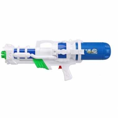 Camping speelgoed waterpistool met pomp wit/blauw 66 cm kopen