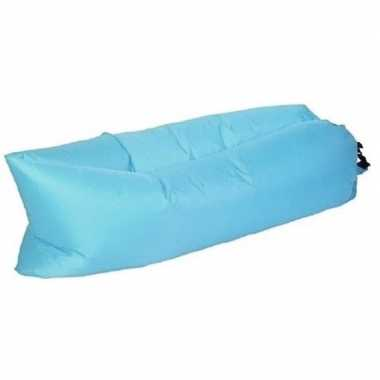 Camping strand opblaas loungebed/luchtbed blauw 220 x 70 cm kopen
