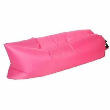 Camping strand opblaas loungebed/luchtbed roze 220 x 70 cm kopen