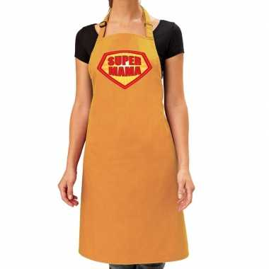 Camping super mama barbeque schort / keukenschort oker geel dames kop